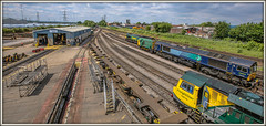 Time at the Mother Ship (david.hayes77) Tags: 2015 southampton southamptonmarinemaintenancedepot millbrooktradingestate hants hampshire freightliner class70 70018 class08 08691 class66 shed 66420 shunter firstavenue millbrook