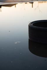 two half tires / 2 halbe Reifen (karsten-the-coleoid) Tags: helios a7rii köln cologne tire reifen sundown sonnenuntergang dusk wasser spiegelung reflection