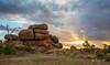 Devils Marbles (R. Francis) Tags: devilsmarbles devilsmarblesconservationreserve sunset amazingsunset northernterritory nt granite storm rays