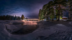 Koiteli (M.T.L Photography) Tags: koiteli riverkiiminkijoki clouds water stream river night lights hangingbridge mtlphotography winter trees sky cabin mikkoleinonencom panoramicphotography