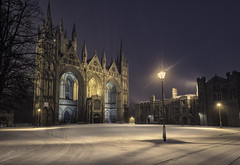Winter Returns (unciepaul) Tags: peterborough cathedral snow snowy scene friday night march light lights cold wet windy worth it longexposure quiet tripod nikon d810 lightroom gloves scarf hat