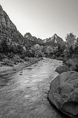 Virgin River and The Watchman ~ Zion National Park (TAC.Photography) Tags: zion virginriver utah nationalpark monochrome bw blackandwhite tacphotography tomclark d5100 ngc tomclarknet