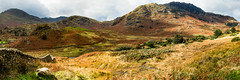 Mountains (Keith in Exeter) Tags: mountain littlelangdale bleamoss rakerigg castlehowe lakedistrict nationalpark cumbria england english moorland stonewall grass bracken panorama landscape sidegates
