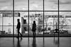 Room for Two (tim.perdue) Tags: columbus museum art cma cmoa mycma ohio gallery black white bw monochrome room two people couple man woman figures silhouette window view wood floor reflection boy girl building tree street candid