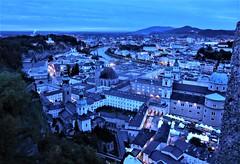 Salzburg topography (SM Tham) Tags: europe austria salzburg city cityscape buildings lights bluehour ridge hohensalzburg fortress trees salzach river mountains sky