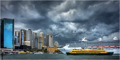 Sydney storm (beninfreo) Tags: summer storm sydneyharbour thunder circularquay cruiseship carnivallegend downpour cloudtogroundimages sony rx100 rx100m3