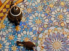 After breakfast (Shahrazad26) Tags: zellig zellij huisgors bird vogel oiseau theepot marrakech marokko morocco maroc