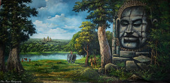 Painting of Bayon temple in Cambodia. (kuntheaprum) Tags: cambodianarts crafts painting angkor nikon d750 samyang 85mm f14 nearyrothkunthea