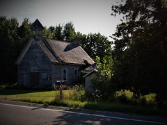 Schoolhouse House (SCOTTS WORLD) Tags: adventure abandoned america architecture angle sky shadow sunlight summer school september 2017 rural trees texture windows weathered woods weeds michigan midwest thumb light leaves landscape panasonic pov perspective yard oneroomschoolhouse historic outside clouds country