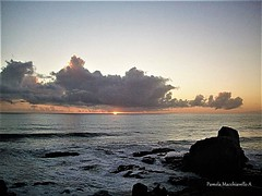 Sunset, Pichilemu Chile (pamelamacchiavello) Tags: sea ocean pacific pacificocean rock cloud sunset coastline