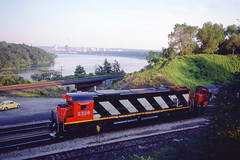 Canadian National C636 #2326 passing through Bayview Jct.  on 6-23-80 (LE_Irvin) Tags: bayviewon c636 canadiannational