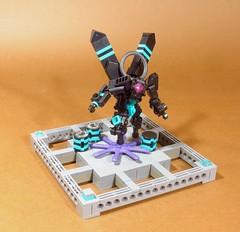"Teal Avenger (Deus ""Big D."" Otiosus) Tags: lego moc mech robot mecha toy black teal turquoise dark revenge mark stafford scifi science fiction cyberpunk droid drone"