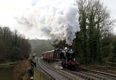 Churnet Valley steam gala (Andrew Edkins) Tags: 4277 42xxclass greatwestern gwr churnetvalleyrailway preservedrailway geotagged canon railwayphotography railwaystation travel trip canal locomotive february 2018 winter steamtrain steamgala trees clag exhaust consall staffordshire england uksteam