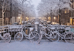 Amsterdam's winter charm shines in fairy lights (B℮n) Tags: amsterdam snow covered bikes bycicles holland netherlands canals winter cold wester church jordaan street anne frank house dutch people scooter gezellig cafés snowy snowfall atmosphere colorful windows walk walking bike cozy boat light rembrandt corner water canal weather cool sunset file celcius mokum pakhuis grachtengordel unesco world heritage sled sleding slee seagulls meeuwen bycicle 1°c shadows sneeuw slippery glad flakes handheld wind nieuweleliestraat café denieuwelelie heineken snowman rolling sneeuwpop rollen 100faves topf100 200faves topf200