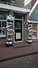 ballonpilaar dubbel cijfers 15 zwart zilver