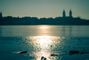 Reflections on ice (Rico the noob) Tags: dof bokeh d850 landscape sunset nature 58mmf14 germany city outdoor 58mm urbanexploration sun urban golden sky reflection published 2018 ice