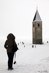 Watching the Bell Tower (Luca Bobbiesi) Tags: campanile lago lagodiresia icedlake lagoghiacciato resia valvenosta trentinoaltoadige belltower canoneos5dmarkiv canonef24105mmf4lisusm