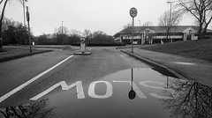 Camberley 20 January 2018 006 (paul_appleyard) Tags: camberley watchmoor park black white january 2018 xperia slow 30 reflection reflected water puddle surrey surreyheath