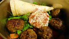 Dinner is . . . (Sandy Austin) Tags: panasoniclumixdmcfz70 sandyaustin massey northwest auckland westauckland northisland newzealand food casablanca restaurant greek meatballs salad flatbread