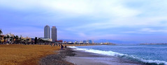 Platja de La Barceloneta (Fnikos) Tags: beach shore seashore sand coast sky cloud skyline sea water waterfront rock city tower building architecture tree palmtree nature people outdoor