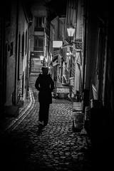 Narrow street in Bergen, Norway (MortenTellefsen) Tags: street streetview streetart bergen bw blackandwhite blackandwhiteonly norway norwegian bnw svarthvitt gatefoto monochrome artinbw walk alone night nightliths