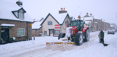 Snow plough. Hay on Wye . Powys. Wales (Minoltakid) Tags: weather hayonwye powys wales midwales tractor masseyferguson streetphotography street threetuns people blackswan town day outside buildings sony sonyrx0 rx0 dscrx0 tagged geotagged photograph winter 6499 masseyferguson6499 minoltakid theminoltakid rossdevans rossevans