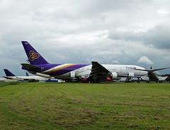 N175GT Boeing 777-200 of Thai International Airways (SteveDHall) Tags: aircraft airport aviation airfield aerodrome aeroplane airplane airliner airliners kemble cotswoldairport 2017 axeman scrapped scrapping scrap retired airsalvageinternational asi n175gt hstje boeing b777 b772 b777200 777 777200 boeing777200 boeing777 thaiinternationalairways thaiinternational airways thailand thai