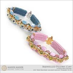 Bejewelled Pillows Cuff (The Manek Lady) Tags: maneklady tutorial carrier bead crystal montee chaton herringbone peyote cuff bracelet