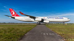 Turkish Airlines A340 (Green 14 Pictures) Tags: aviation avgeek avporn airport aircraft airplane air airlines airline airfield amsterdam ams airways eham schiphol thenetherlands holland nl netherlands a340300 a340 airbusa340 turkishairlines tk thy tcjdm quadjet taxiway victor