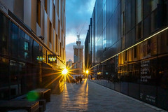 First Street, Manchester (iammattdoran) Tags: manchester twilight setting sun modern energy vibrant transforming juxtaposed architecture classic design rising towers