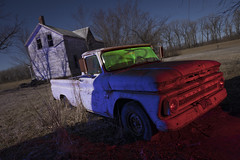 Abandoned Pickup Truck (Notley Hawkins) Tags: rural missouri notley notleyhawkins 10thavenue httpwwwnotleyhawkinscom missouriphotography notleyhawkinsphotography lightpainting bluelight greenlight blue green night nocturne 光绘 光繪 lichtmalerei pinturadeluz ライトペインティング प्रकाशपेंटिंग ציוראור اللوحةالضوء abandoned ruralphotography chartitoncountymissouri red redlight rgb outdoor riverbottoms missouririverbottoms truck farmtruck chevrolet march 2018 dutchangle windshield carwindow