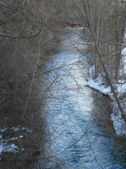 Stream in the Woods (ScienceLives) Tags: milton ontario canada millpond rotarypark park forest trees winter scenery winterscene sunset stream frozen bridge woods