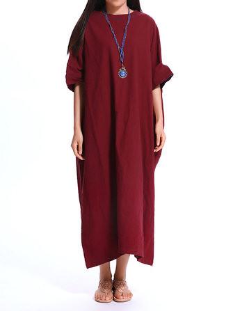 77595cc3c1a Loose Women Pure Color Brief Batwing Sleeve Pocket Maxi Dress (1070382)   Banggood (