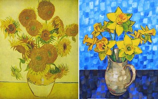 Still Life Vase with Fourteen Sunflowers by Van Gogh 1888 and Daffodils version by Anthony D. Padgett 2017