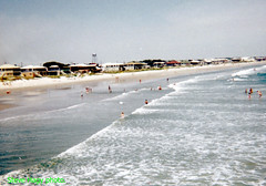 Looking north along the coast from the pier at Windy Hill Beach - 1966 (kyfireenginephoto) Tags: crescent pier hotel ocean waves house south beach 1966 myrtle wave water tower surf sand motel people atlantic swim suit carolina dennis vintage sc bikini bathing hurricane us17
