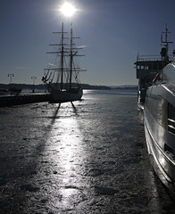 Ice at the harbour (Päivi ♪♫) Tags: norway oslo fjord ice winter february cold harbour sun snow