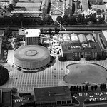 Aerial view of University Plaza in the 1970s.