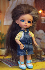 Jeans sundress for 16 cm bjd dolls. (Bayle.V.) Tags: jeans jeansoutfit tinybjd bjdtiny lati latidress latiyellow aquariusdoll jeanssundress overalls sundress bjd bjddoll bjdoutfit bjddress bjdclub bjdoveralls