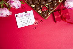 Delicious chocolate candies in gift box on red background (lyule4ik) Tags: heart chocolate day sweet valentine love decoration holiday romantic shape symbol background gift joy red calendar candy sugar cocoa delicious dessert fat food romance tasty affection artistic bokeh bottle bride card celebration composition concept confetti creative design effect family filter glass green happy life present retro rose shaped