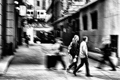LaSalle Street - Chicago (draketoulouse) Tags: chicago loop street streetphotography people blackandwhite monochrome contrast motion blur noise cta train subway