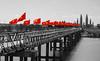 FlagsRiverCrossing (jim.boki 門) Tags: trestle bridge vietnam jim boki jimboki trainline flags red selectivecolour selectivecolor