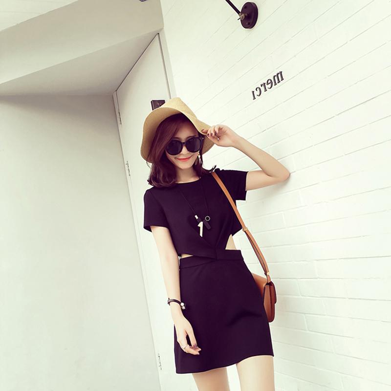 Im Herbst 2017 neUe koreanische Dürr sexy Sommer - Rock, Schwarze vorsichtig schulterfreien kleid Frau Audrey Hepburn