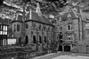 At The Priory Garden, Coventry (Manoo Mistry) Tags: nikon nikond5500 tamron18270mmzoomlens coventry birminghampostandmail lamp lamppost cobblestreet cobbeled cobbeledstreet church monochrome blackandwhite sky dramatic