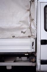 BIER (Florian Thein) Tags: berlin kreuzberg bier beer lkw lastwagen transporter plane detail lieferung bierlieferung film analog 35mm kleinbild yashicat5 kodakgold typography typografie type font helvetica arial