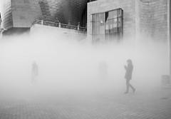 Guggenheim Bilbao (oiZox) Tags: bilbao guggenheim blackwhite blanconegro bw streetphotagraphy fog mist street streetart streetphoto people euskadi spain zox zoximage vizcaya viaggiare human happiness travelling travel mono monochrome