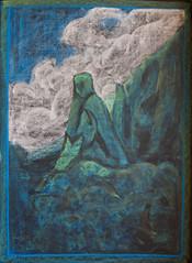 Maui turns Puuokamoa into the Needle at Iao Valley (ArneKaiser) Tags: 2ndgrade boarddrawings hws haleakalāwaldorfschool mrkaisersclass puuokamoa waldorf chalk chalkart chalkboard chalkdrawings