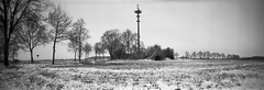 Frozen tower (Rosenthal Photography) Tags: turm ff120 rodinal15021°c11min landschaft 20180203 bnw 6x17 schwarzweiss realitysosubtle6x17 asa50 pinhole mittelformat farven feldscheune feld winter bw februar ilfordpanfplus analog lochkamera february landscape panorama nature snow mood frozen tower realitysosubtle rss 70mm f233 ilford fp4 fp4plus rodinal 150 epson v800