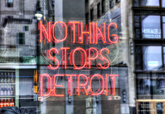 Word On The Street (DetroitDerek Photography ( ALL RIGHTS RESERVED )) Tags: allrightsreserved 313 detroit downtown urban city nothingstopsdetroit local pride neon sign nothing reflection grandriver window canon rebel t2i eos digital michigan midwest usa america detroitderek february 2018 winter motown motorcity red