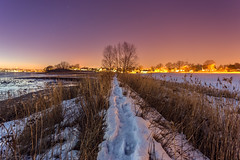 Along the Snow Path (Kurt Evensen) Tags: landscape winter snow nature water frost le nightphoto light longexposure vestfold cold norway nightsky rocks vanishingpoint reflections sea tønsberg nightlights trail sky shore nightphotography trees beach ice no