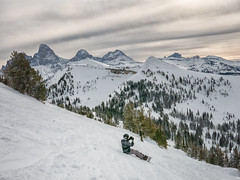 Teton photo op Targhee (maryannenelson) Tags: wyoming grandtarghee snowboard landscape winter clouds sky mountains pines tetons photographer